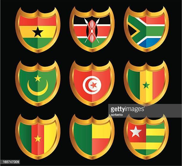 national flag shield icon set - ghana stock illustrations, clip art, cartoons, & icons
