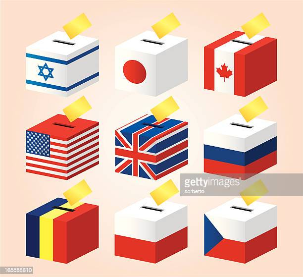 nationalflagge voting box - polnische flagge stock-grafiken, -clipart, -cartoons und -symbole