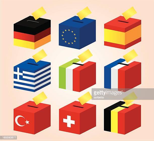 ilustraciones, imágenes clip art, dibujos animados e iconos de stock de bandera nacional de la votación - urna de voto