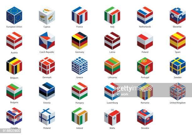 illustrations, cliparts, dessins animés et icônes de drapeaux nationaux et des cubes de l'union européenne - brexit