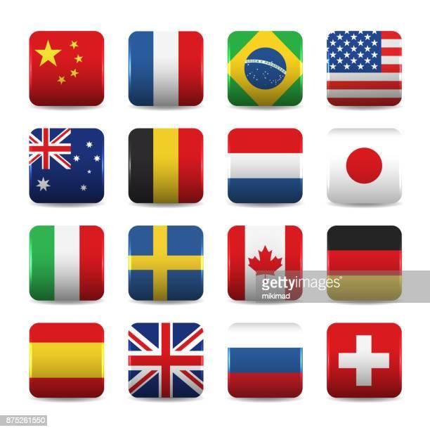 nationalflaggen-icons - russische flagge stock-grafiken, -clipart, -cartoons und -symbole