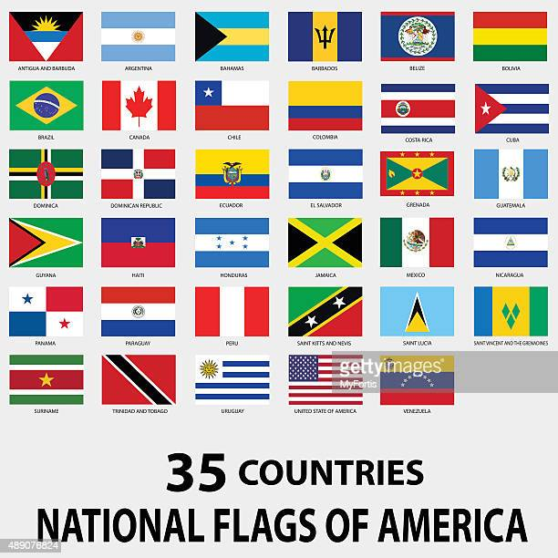 national flags of america - lutin stock illustrations