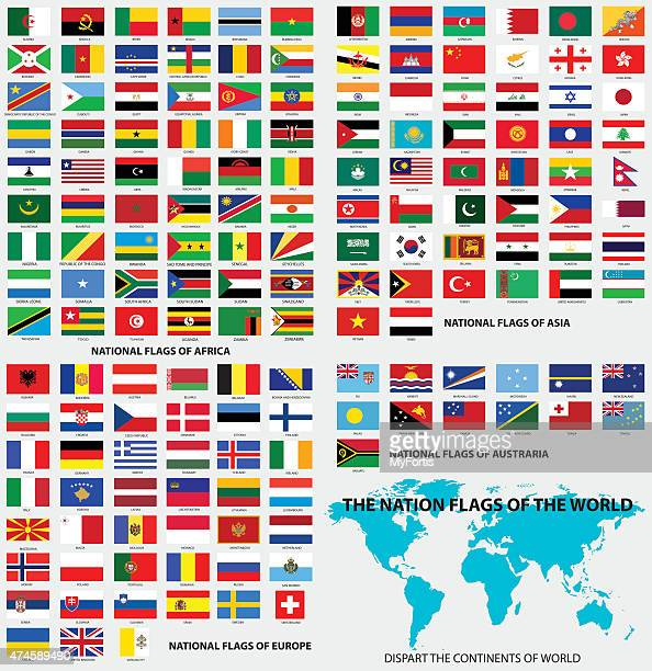 national flags of the world - flag stock illustrations