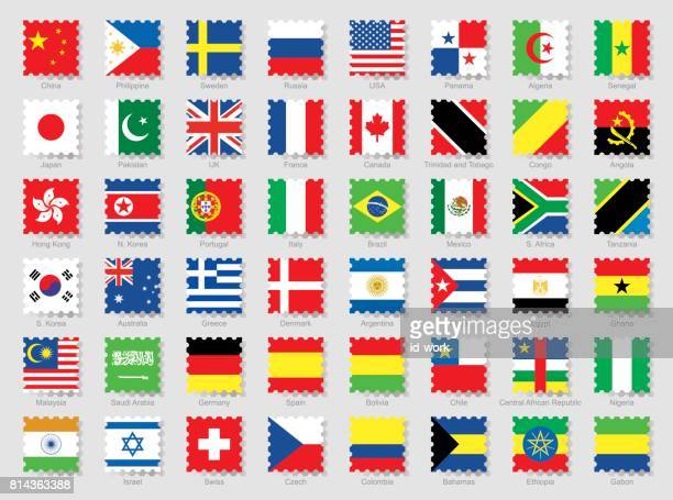 national flags stamps