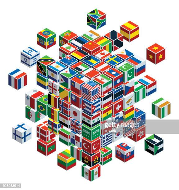 national flags with cubes