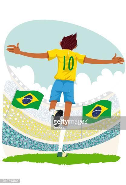 ilustrações, clipart, desenhos animados e ícones de jogador de futebol - football