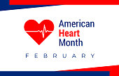 National heart month in February. American flag and heart concept design. For banner, flyer, poster and social medial and hospital use. Vector illustration.