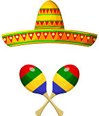 National Mexican sombrero and maracas on a white background. Obj