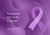 National Minority Cancer awareness week - second week in April. Lavender or violet color ribbon Cancer Awareness Products. Vector illustration.