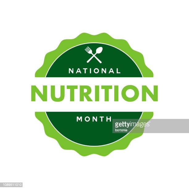 national nutrition month label - month stock illustrations
