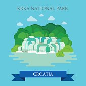 KRKA National Park in Croatia. Flat cartoon style historic sight showplace attraction web site vector illustration. World countries cities vacation travel sightseeing collection.