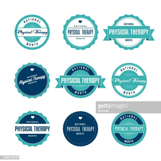 national physical therapy month labels icon set - physical therapy stock illustrations, clip art, cartoons, & icons