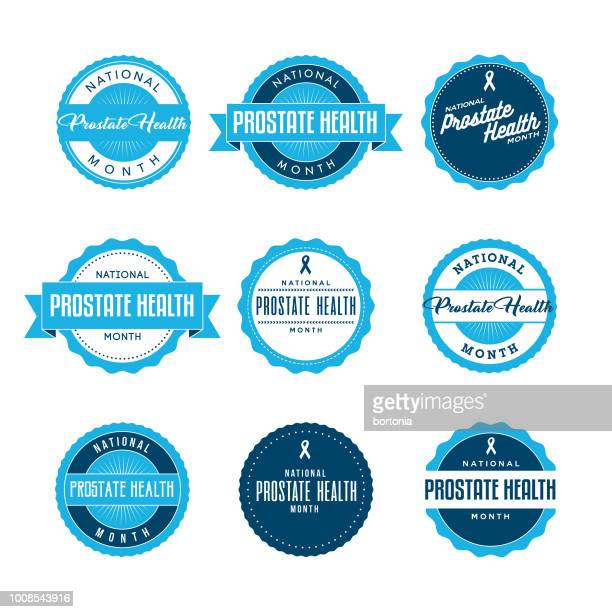 national prostate health month labels icon set - prostate gland stock illustrations, clip art, cartoons, & icons