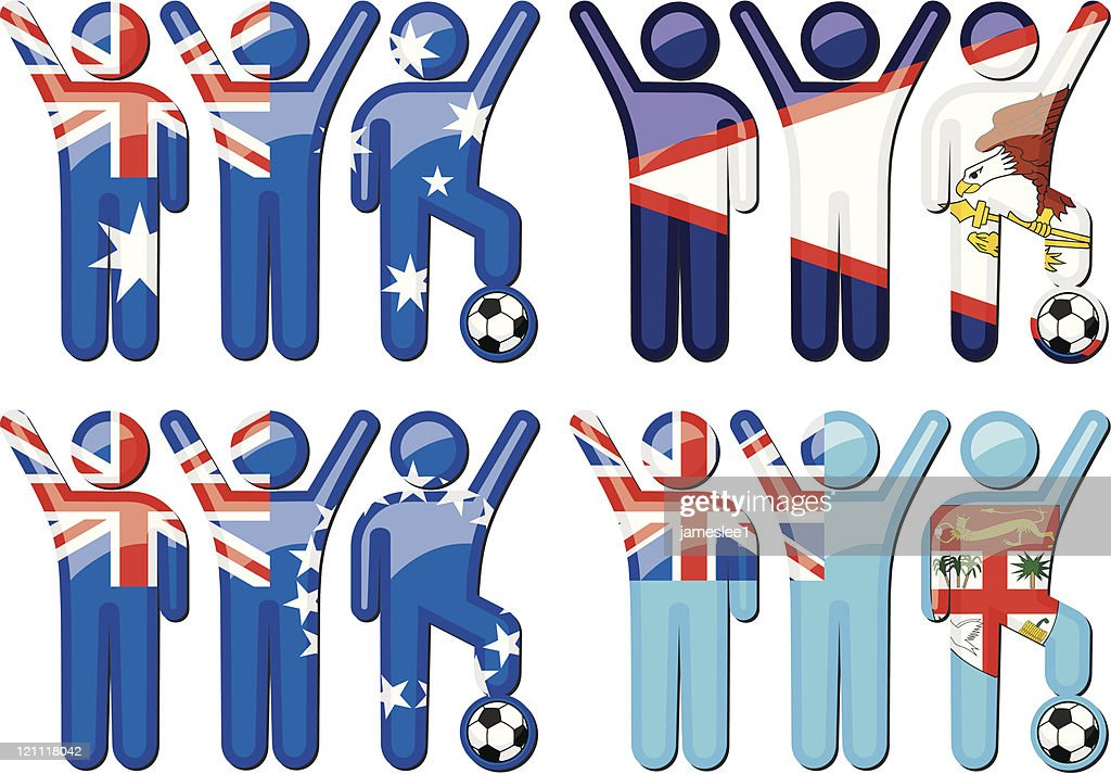 National Soccer Team Icons : stock illustration