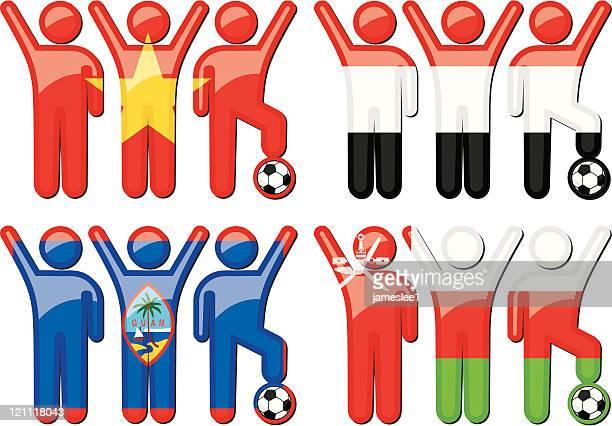 national soccer team icons - sports organization stock illustrations, clip art, cartoons, & icons