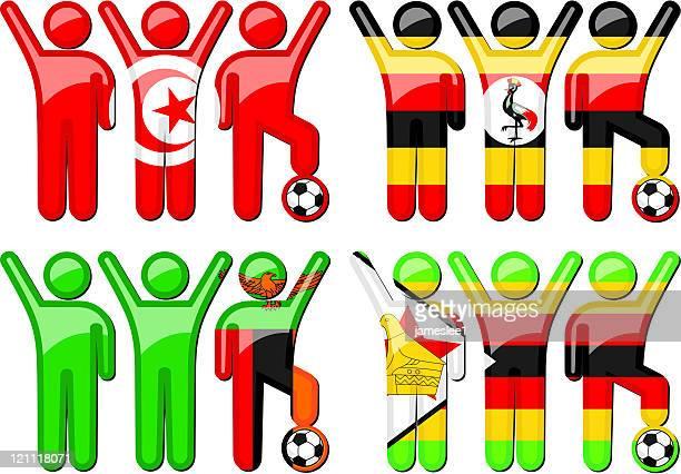 national soccer team icons - zimbabwe stock illustrations, clip art, cartoons, & icons