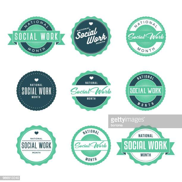 national social work month icon set - month stock illustrations