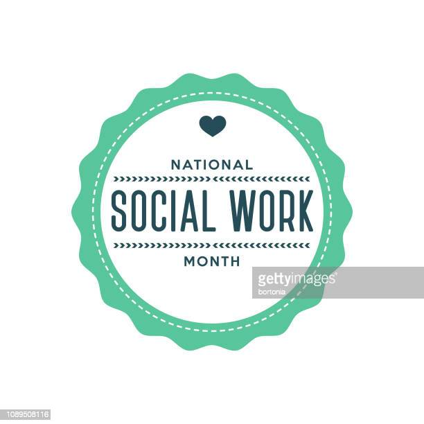 national social work month label - month stock illustrations