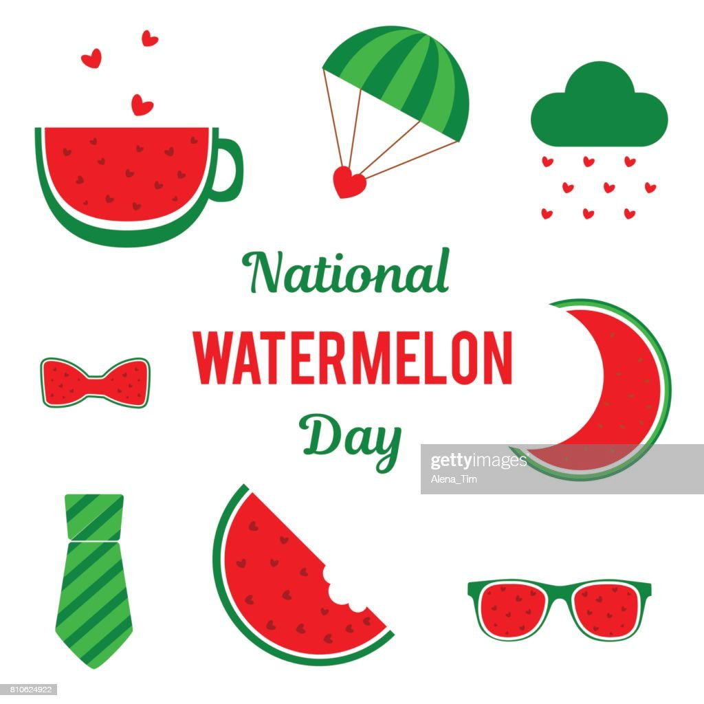 National Watermelon Day. Set of vector elements for the holiday. Place for text