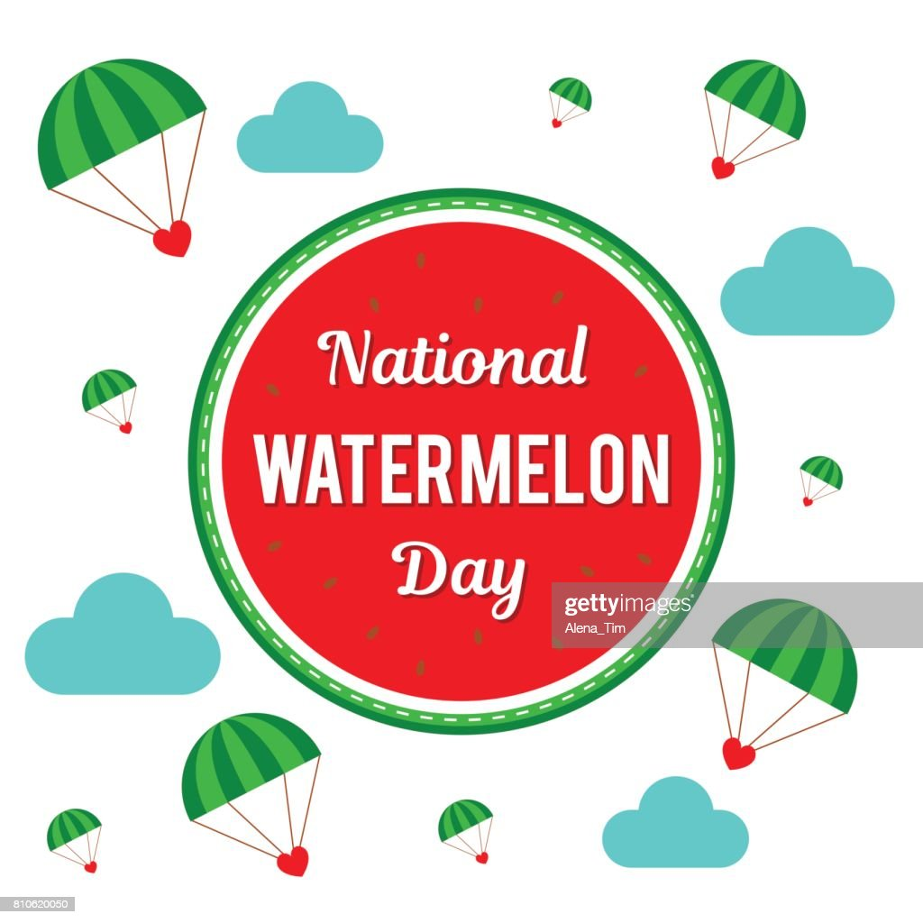National Watermelon Day. Vector Illustration for the holiday. Place for text