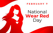 National wear red day vector banner. American Heart Association bring attention to heart disease. Beautiful woman wearing red dress. National wear red day February 7 concept.