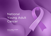 National Young Adult Cancer awareness week - first week in April. Lavender or violet color ribbon Cancer Awareness Products. Vector illustration.