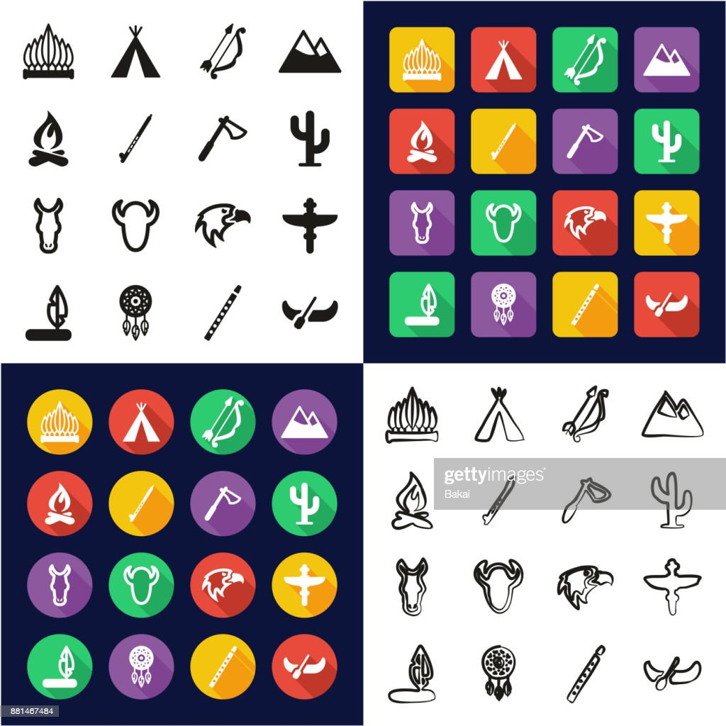 Native American All in One Icons Black & White Color Flat Design Freehand Set