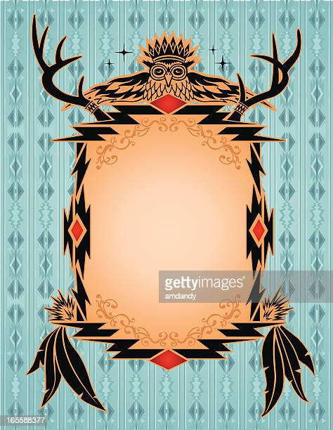 native american, aztec, mian pattern, frame - apache culture stock illustrations, clip art, cartoons, & icons