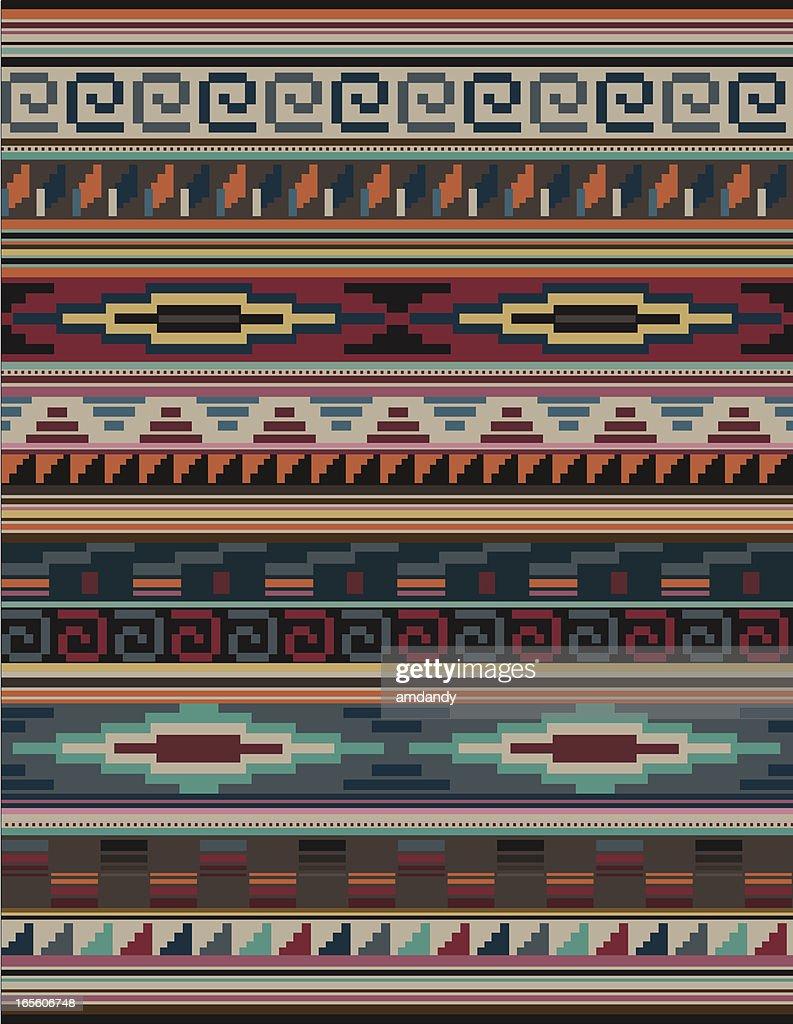 Native American, Aztec, Mian Pattern, RUG Blocky : stock illustration