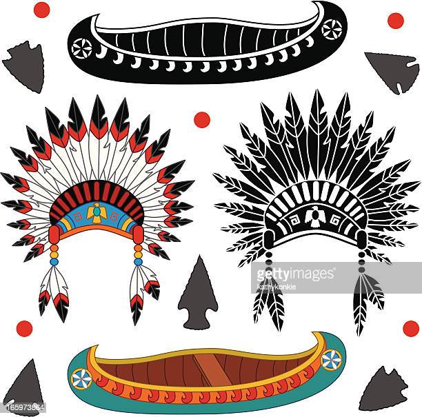 Native American canoe and headdress