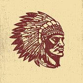 Native american chief head illustration. Design elements for label, emblem,sign. Vector illustration