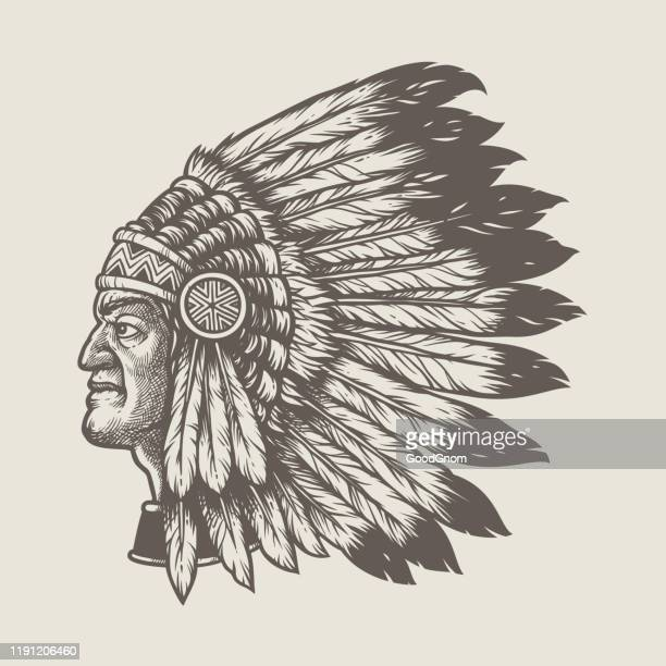 native american chief head - headdress stock illustrations