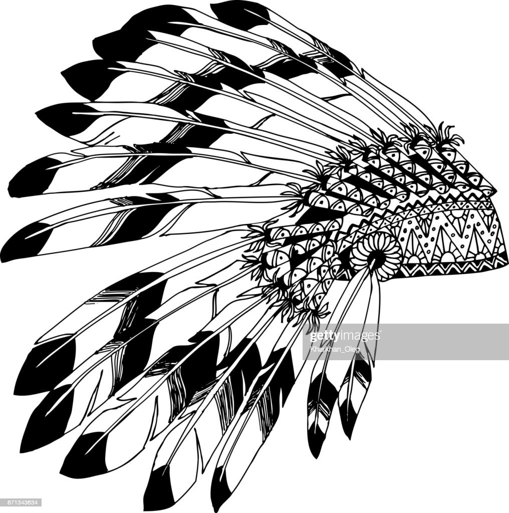 Native American chieftain headdress with feathers. Indian card in a sketch style.
