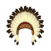 Native American headband with feathers - isolated vector illustration on white background - Indian headdress