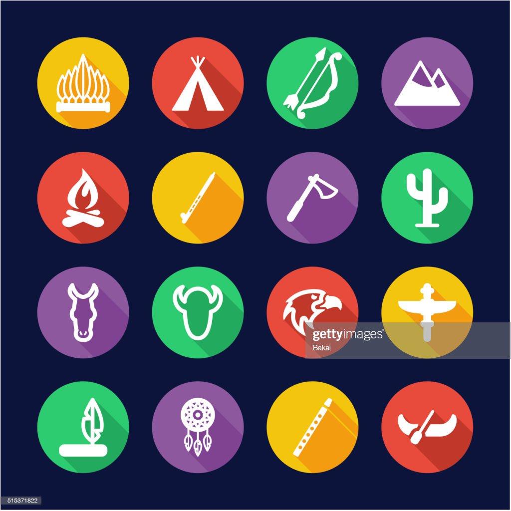 Native American Icons Flat Design Circle