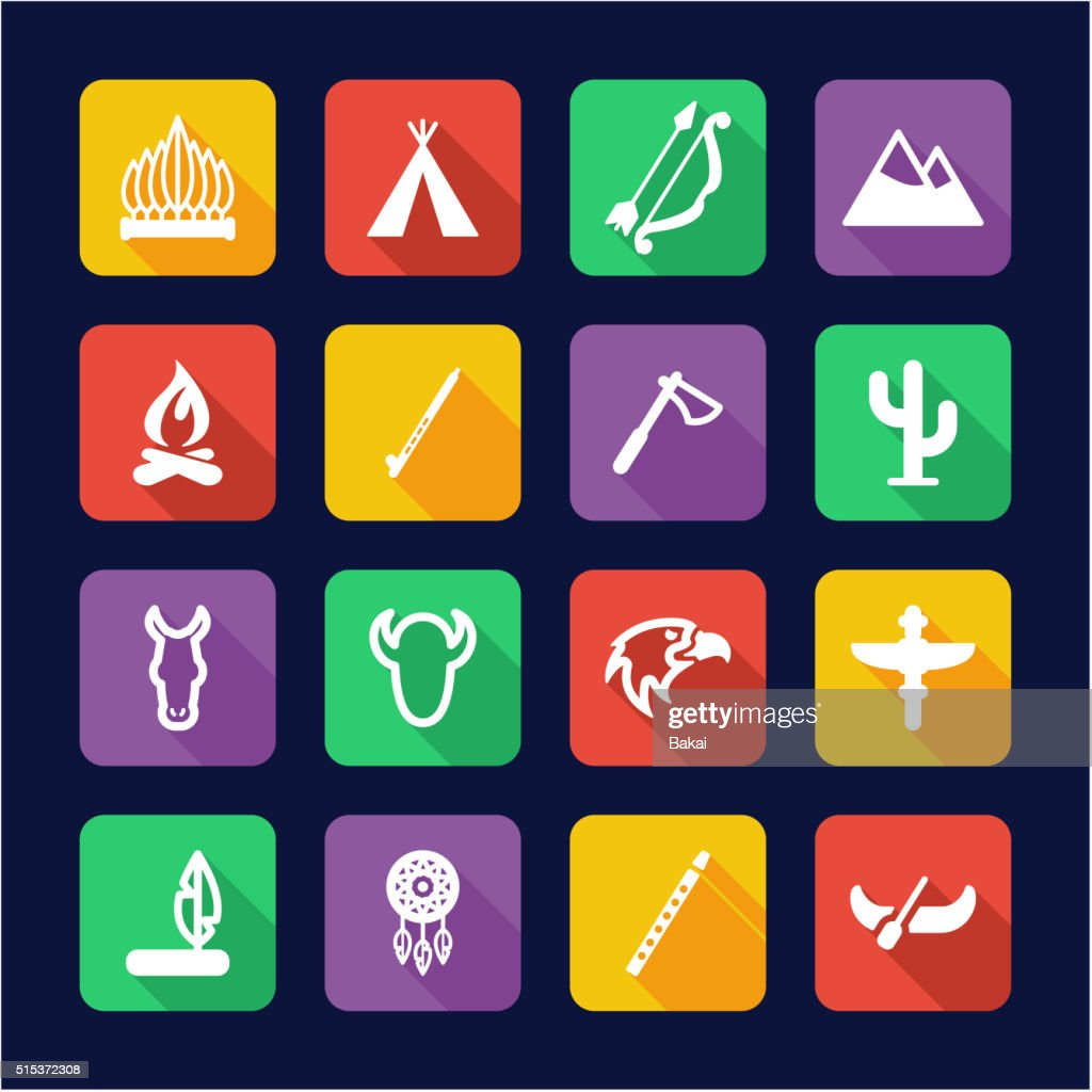 Native American Icons Flat Design