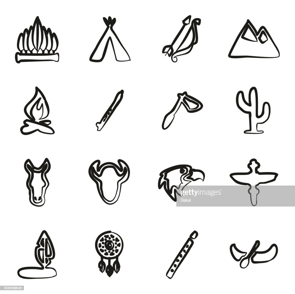 Native American Icons Freehand