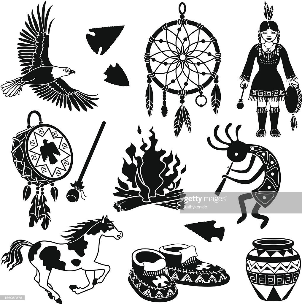 Native American icons : stock illustration