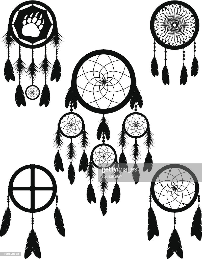 Native American Indian Dream Catcher Vector Illustration Silhouette Collection