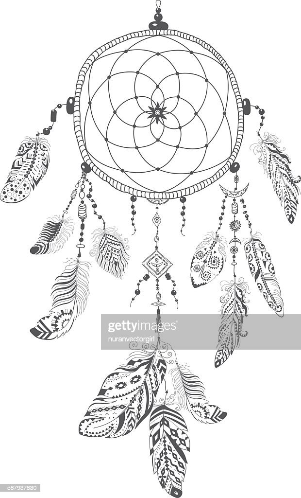 Native American Indian Talisman Dream catcher with Feathers.