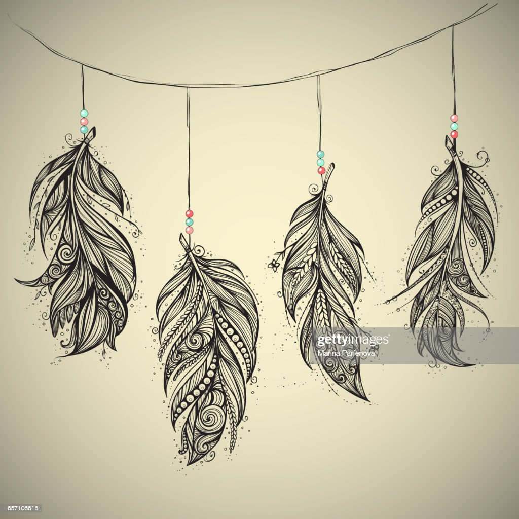 Native American Indian talisman. Vector feathers.