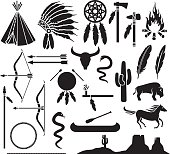 native american indians icons set (bow and arrow, horse)