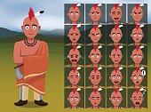 Native American Kansa Warrior Cartoon Emotion faces Vector Illustration