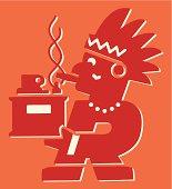 Native American Man Lighting a Cigar
