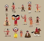 Native American People Poses Cartoon Vector Illustration