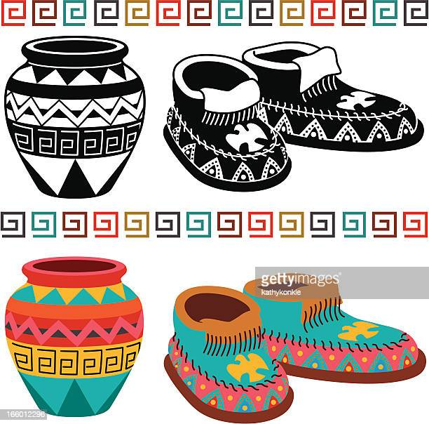 native american pottery and moccasins - pottery stock illustrations, clip art, cartoons, & icons
