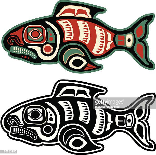 native american salmon - indigenous north american culture stock illustrations, clip art, cartoons, & icons