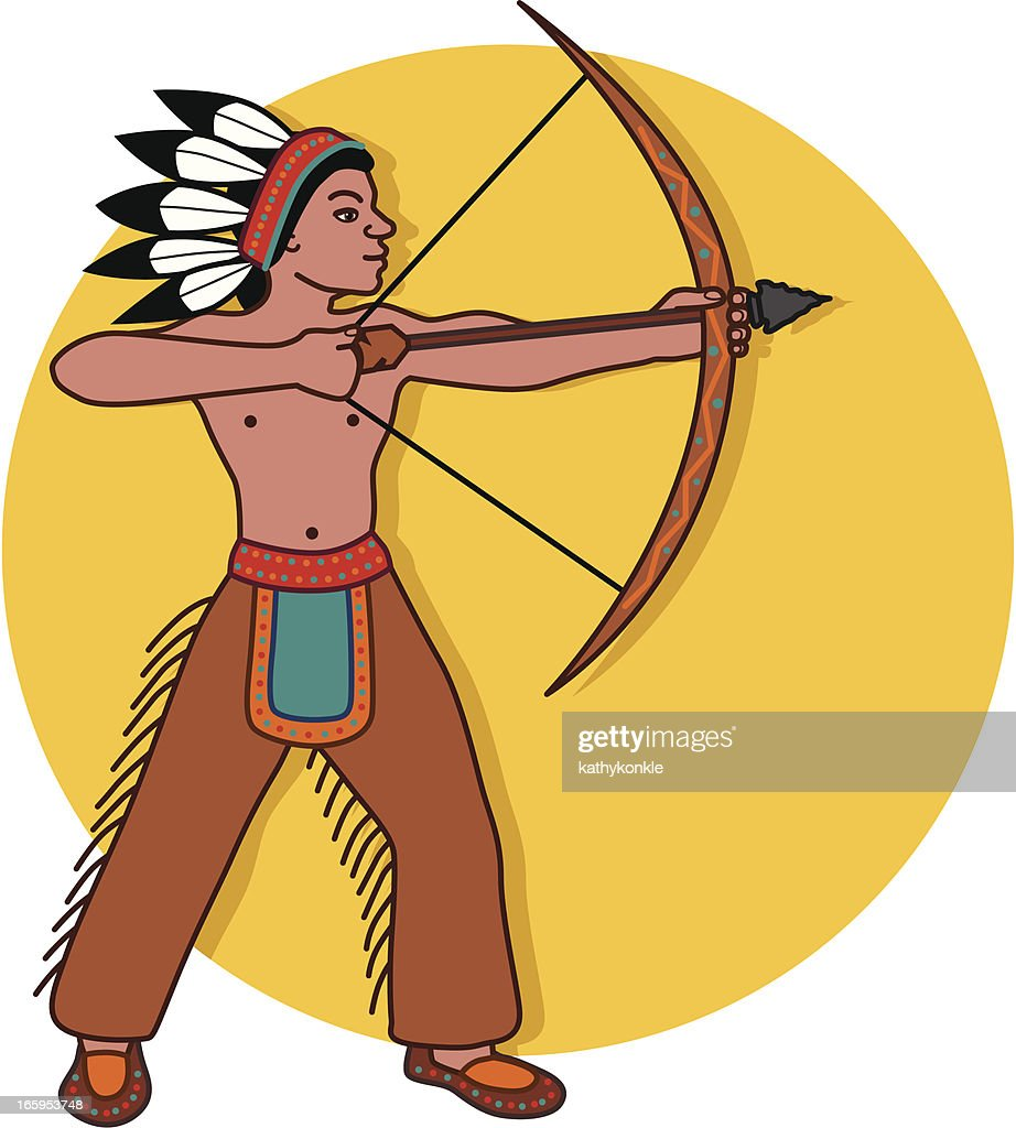 native american shooting bow and arrow vector art getty images rh gettyimages com