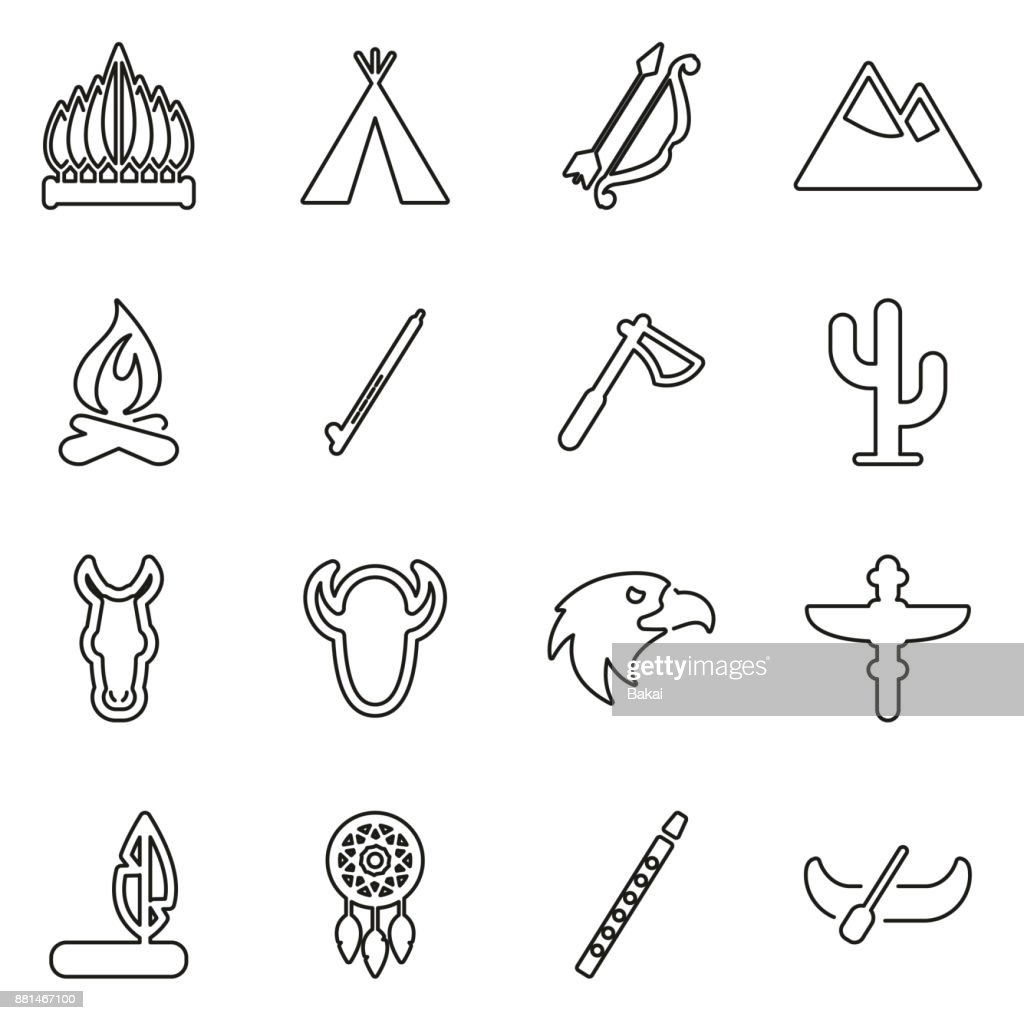 Native American Tribe Culture  Icons Thin Line Vector Illustration Set