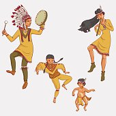 native americans, dancing indian family in traditional costume